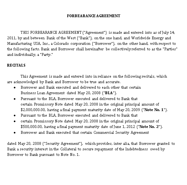 Sample Forbearance Agreement Template