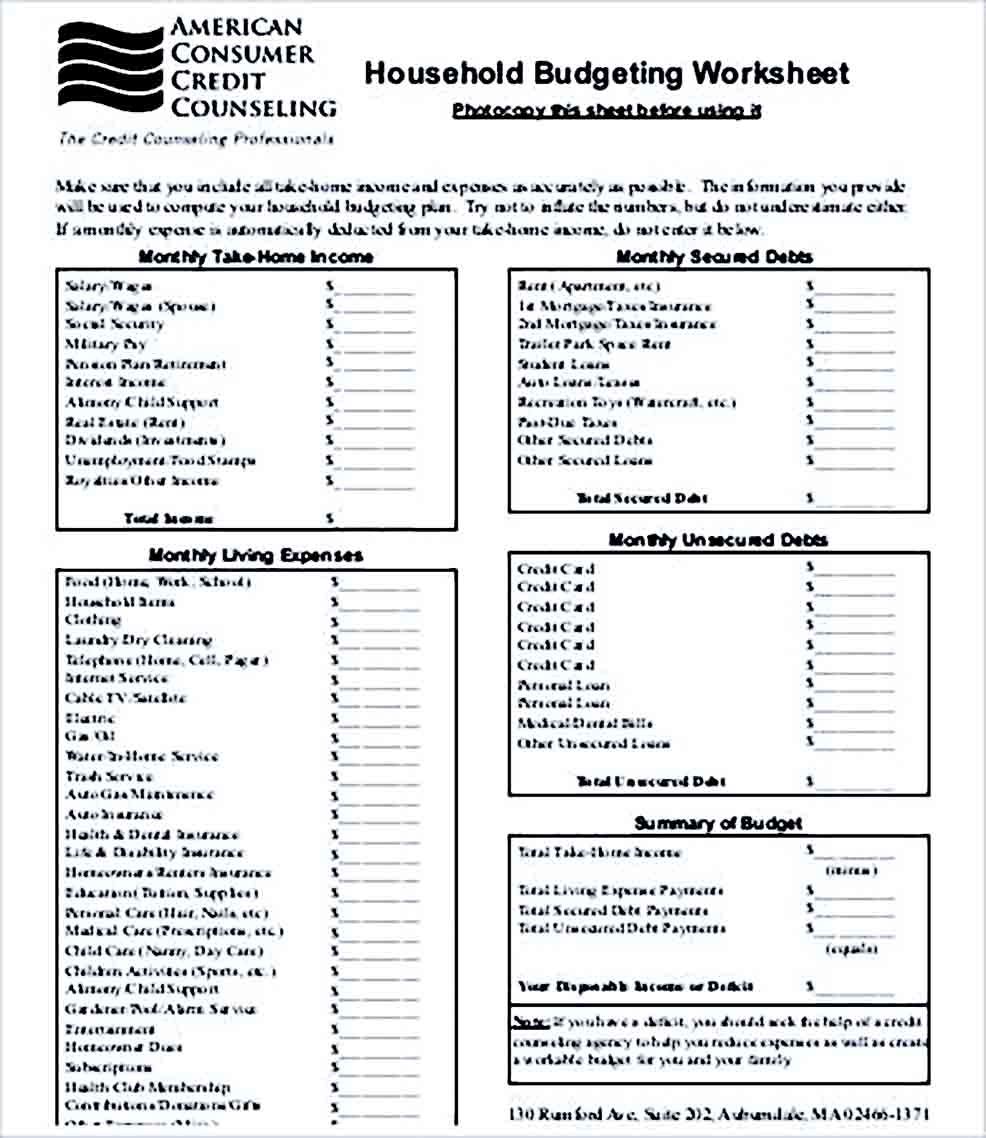 Sample Household Budget Printable