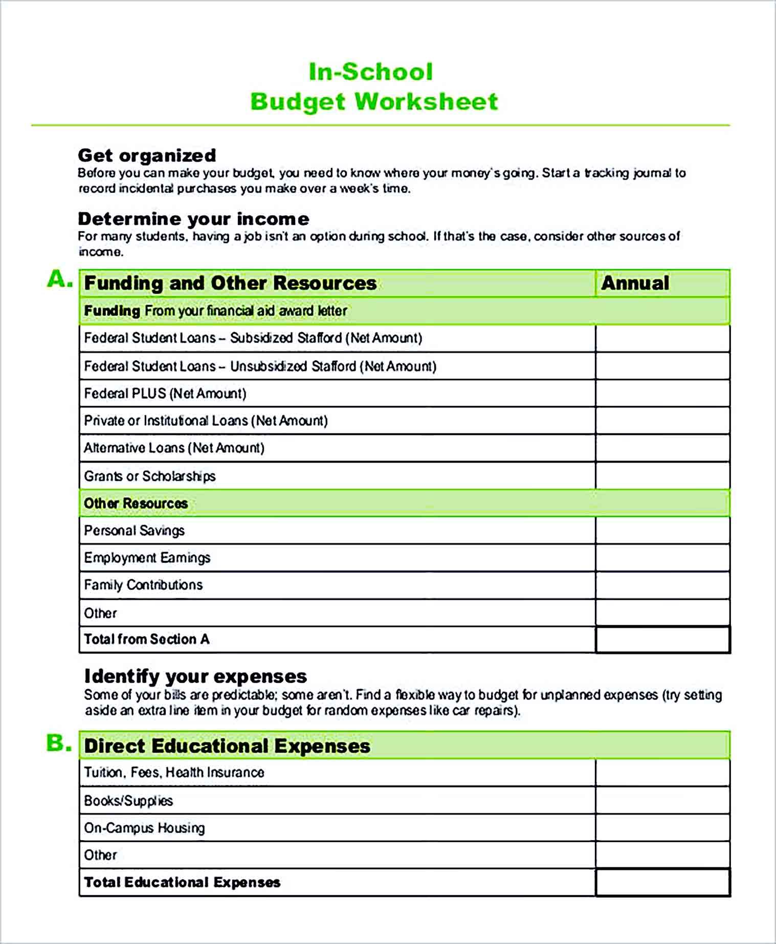 Sample In School Budget Worksheet