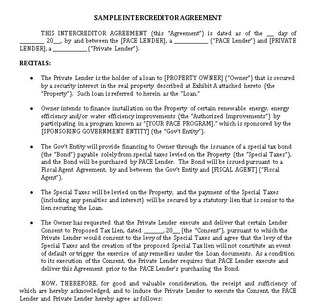 Sample Intercreditor Agreement