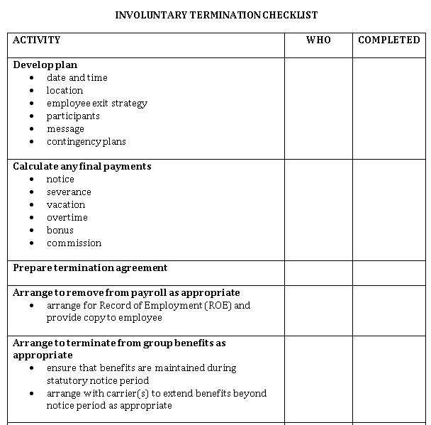 Sample Involuntary Termination Checklist DPC Format Template