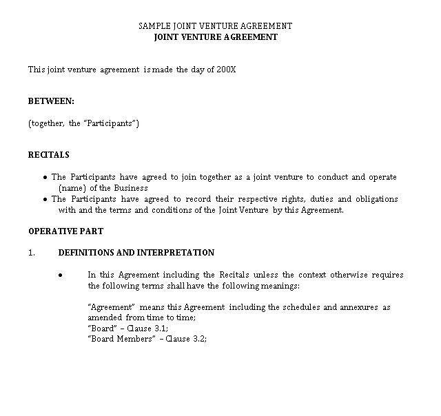 Sample JV agreement