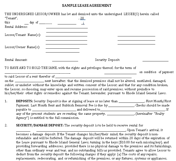 Sample Lease Agreement Example