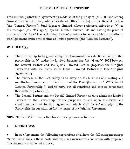 Sample Limited Partnership Agreement