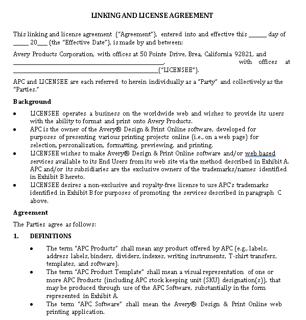 Sample Linking Agreement Template