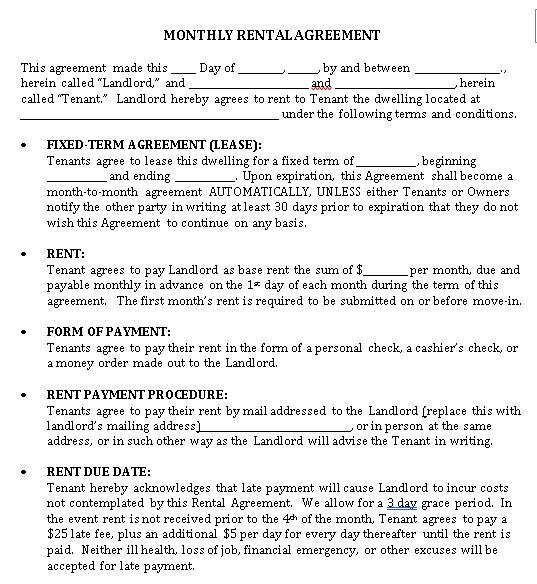 Sample Monthly House Rental Agreement