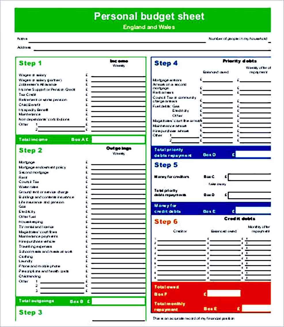 Sample Personal Budget Printable
