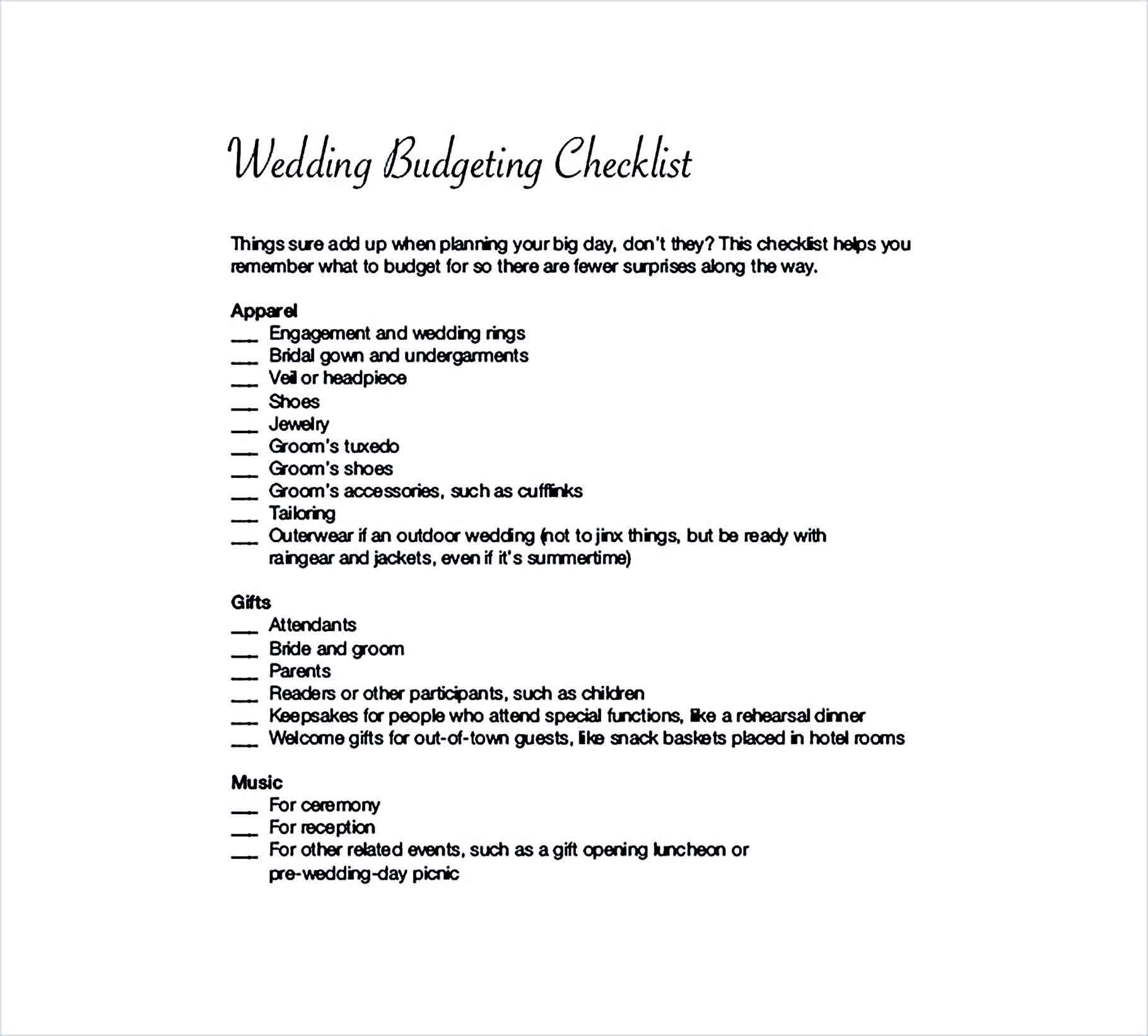 Sample Planed Wedding Budget Checklist