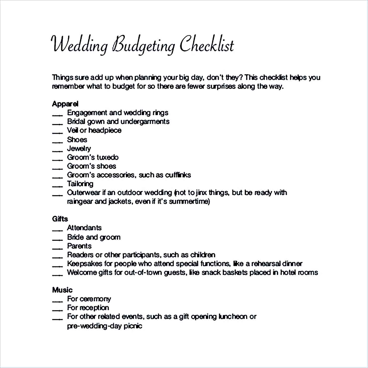 Sample Planed Wedding Budget Checklist For