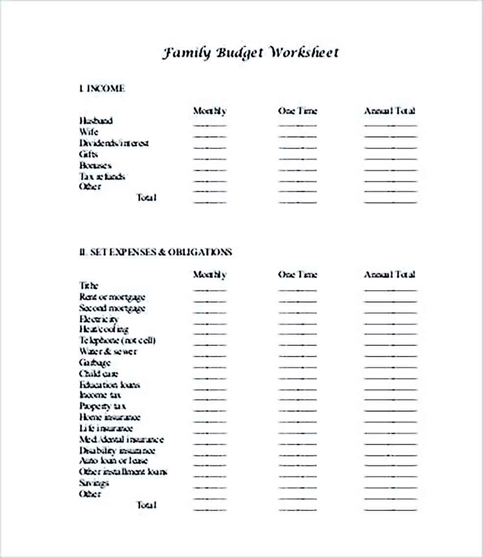 Sample Printable Family Budget