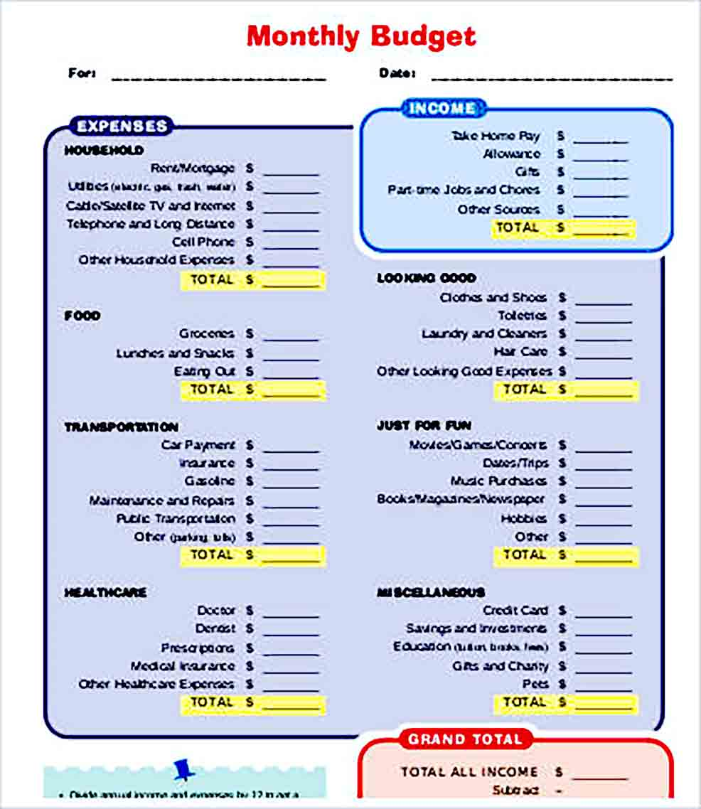 Sample Printable Monthly Budget