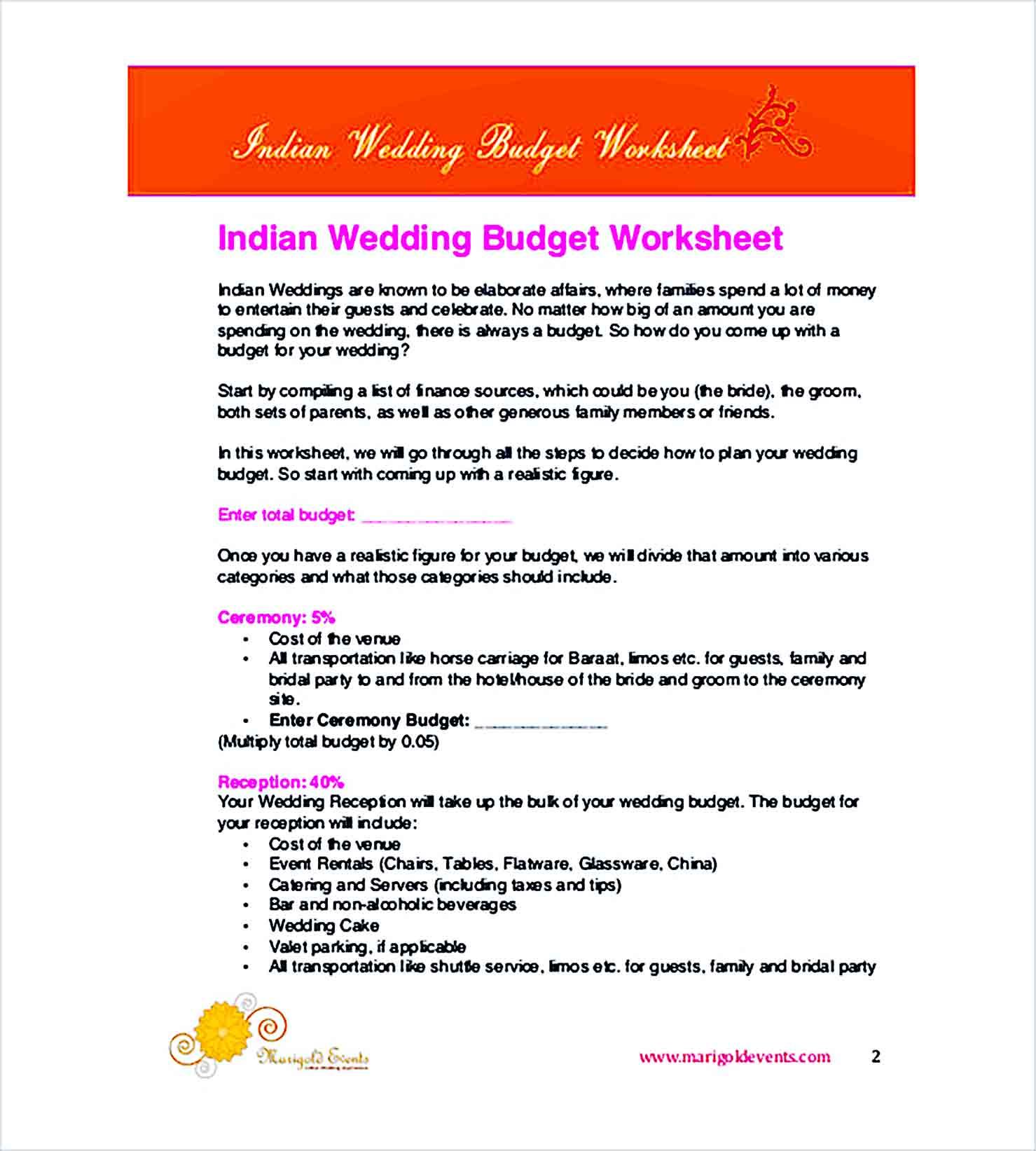Sample Printable Wedding Budget 1 1