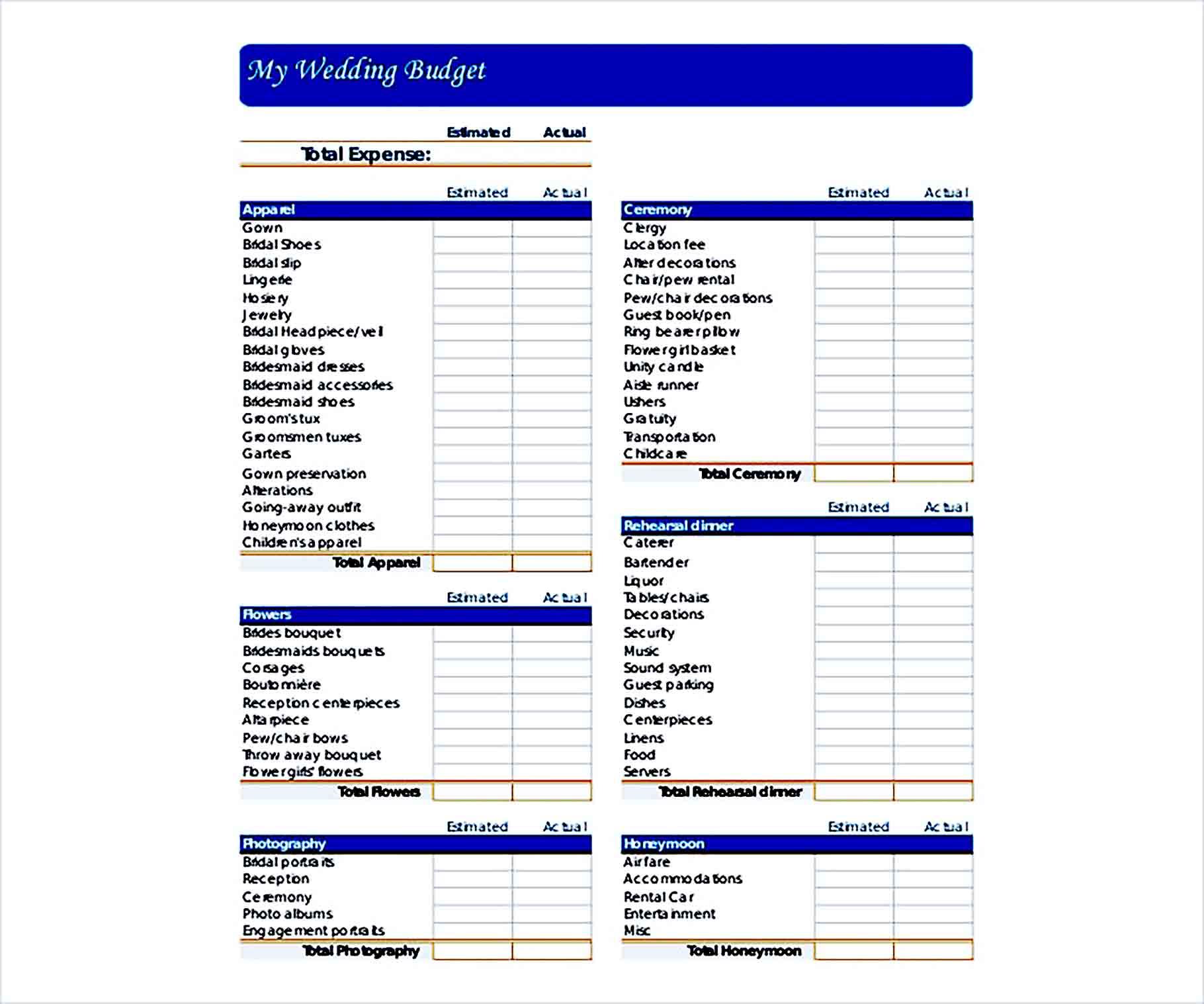 Sample Printable Wedding Budget 001