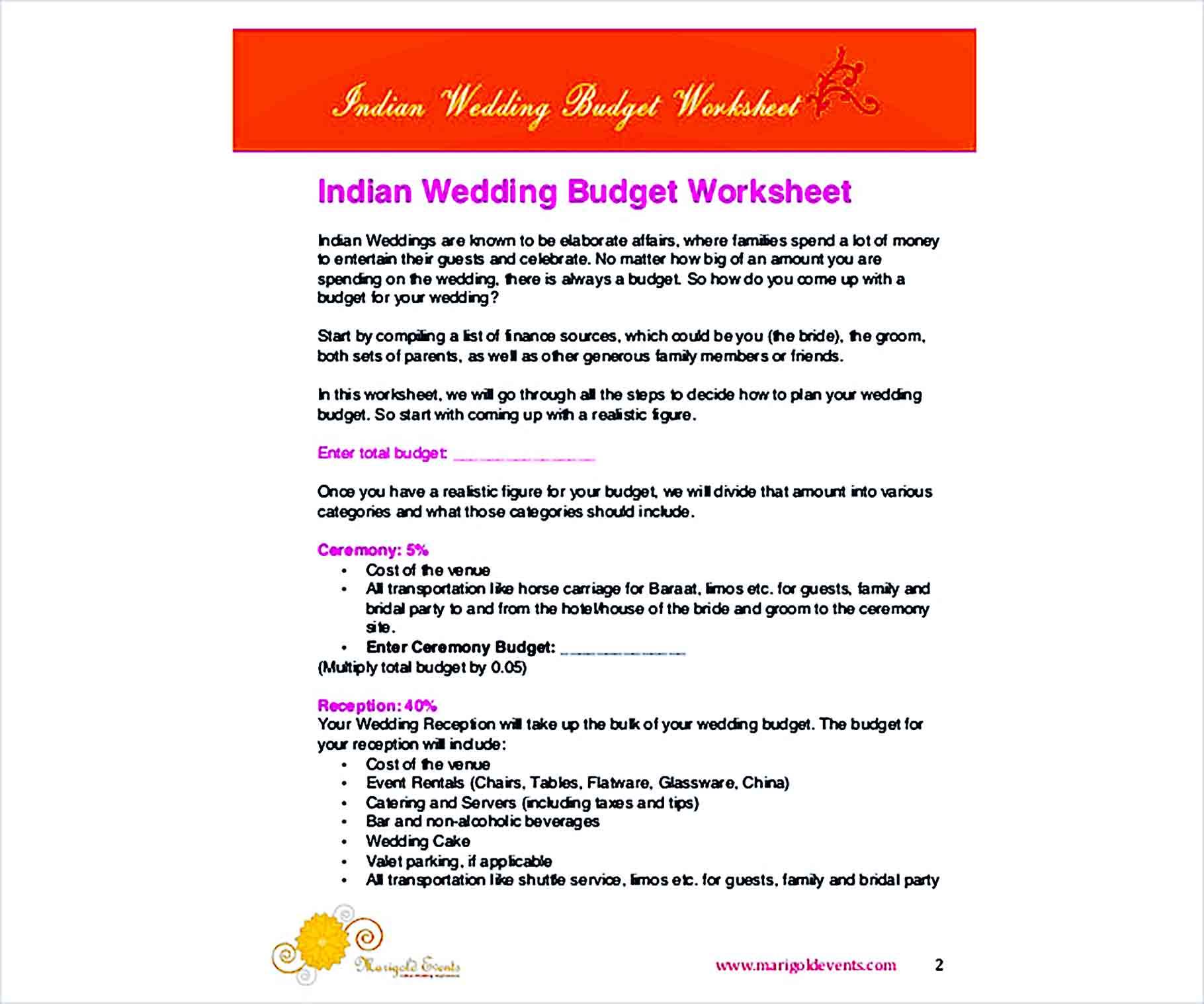 Sample Printable Wedding Budget 002