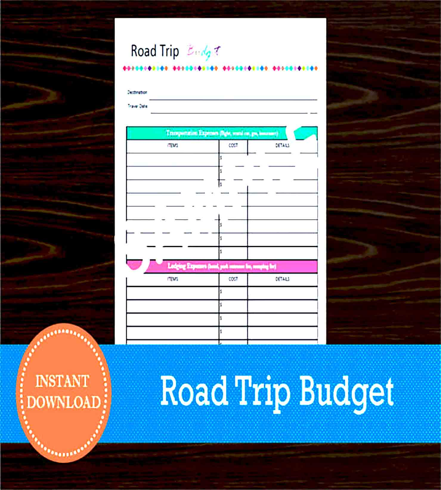 Sample Road Trip Budget Sheet