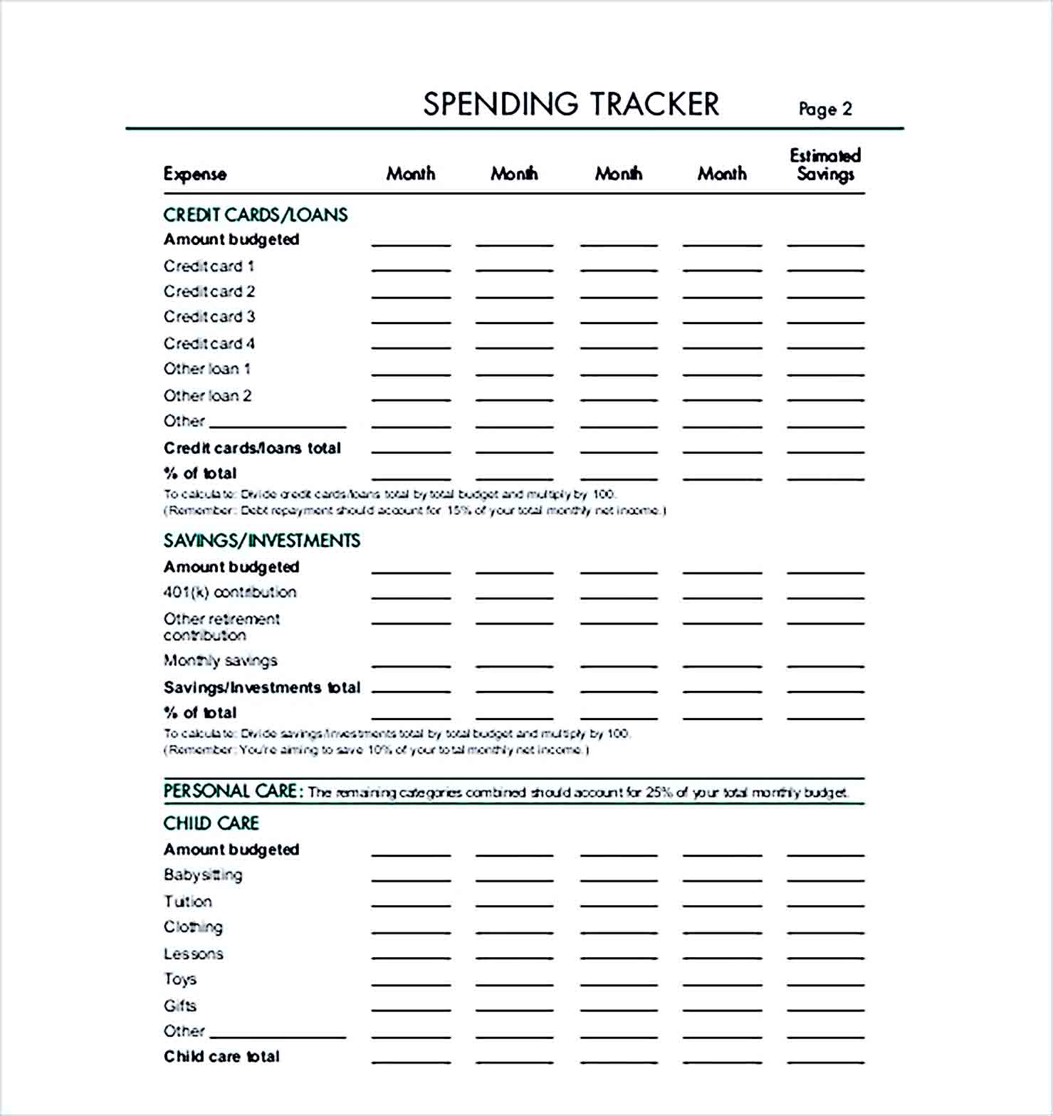 Sample SPENDING TRACKER Format