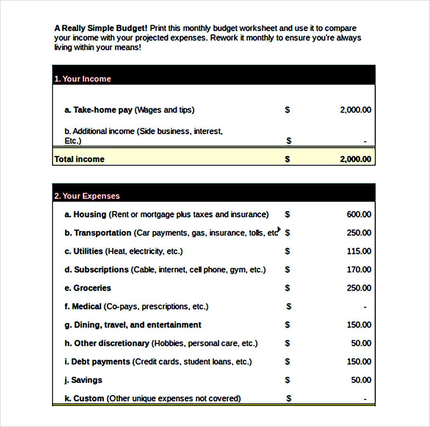 Sample Simple Budget worksheet Excel Format