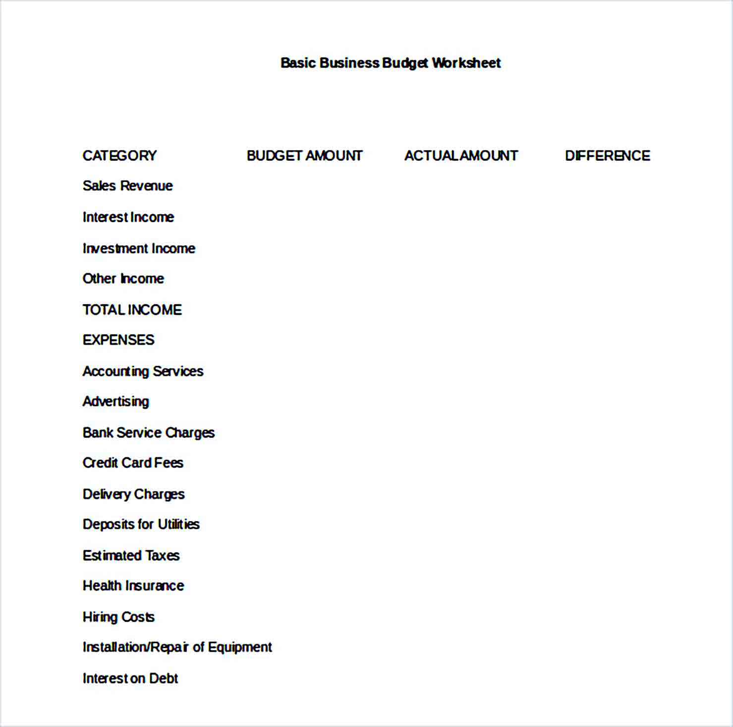 Sample Simple Business Budget Word Format