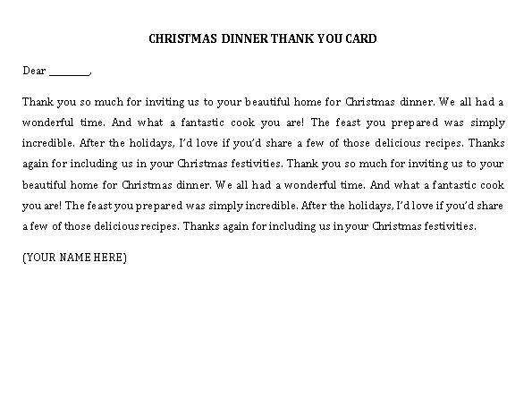 Sample Template CHRISTMAS DINNER THANK YOU CARD