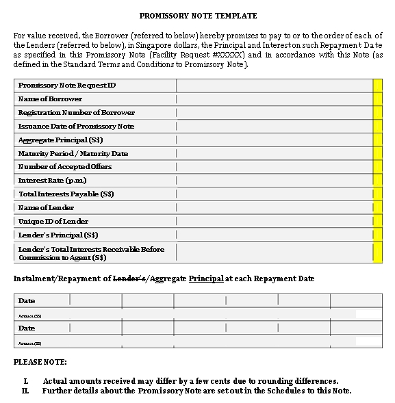 Sample Template Commercial Promissory Note