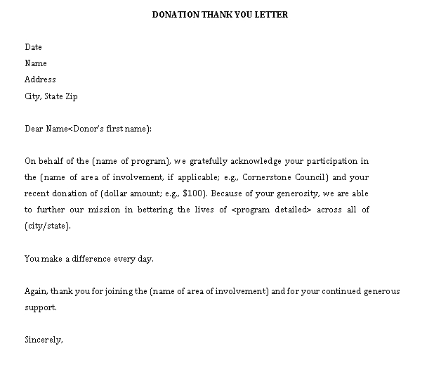Sample Template DONATION THANK YOU LETTER1