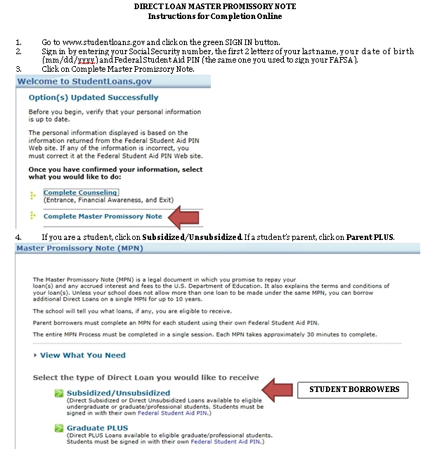 Sample Template Direct Student Loans Note