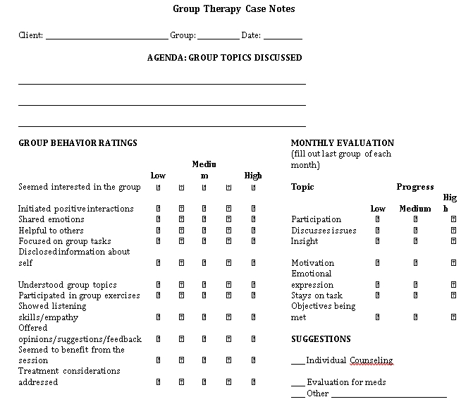 Sample Template Group Therapy 1