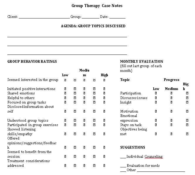 Sample Template Group Therapy
