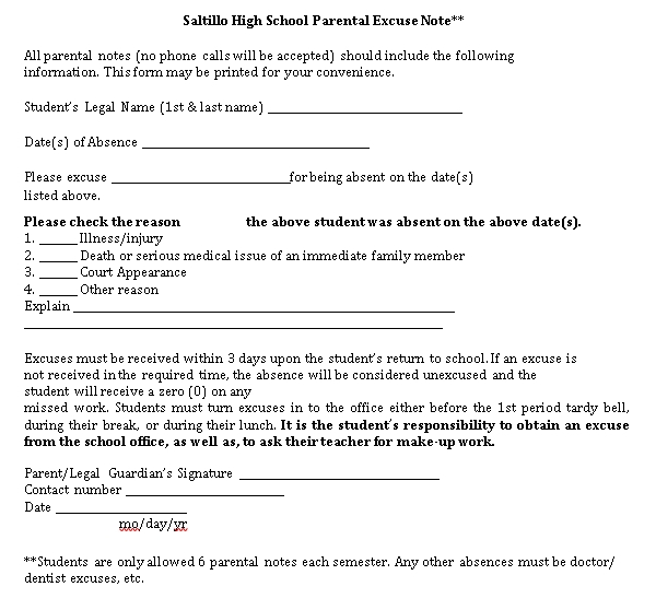 Sample Template High School Parental Excuse Note