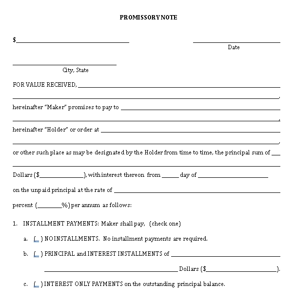 Sample Template Investments Promissory Note