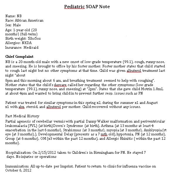 Sample Template Pediatric Soap Note