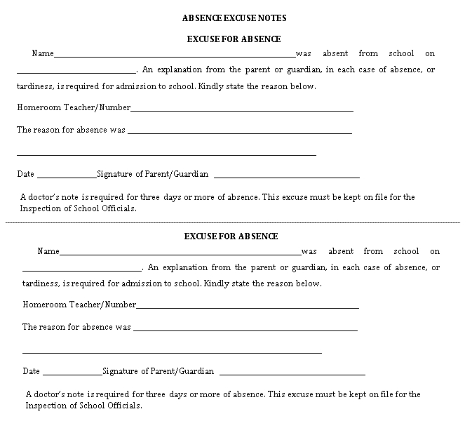 Sample Template School Absence Note