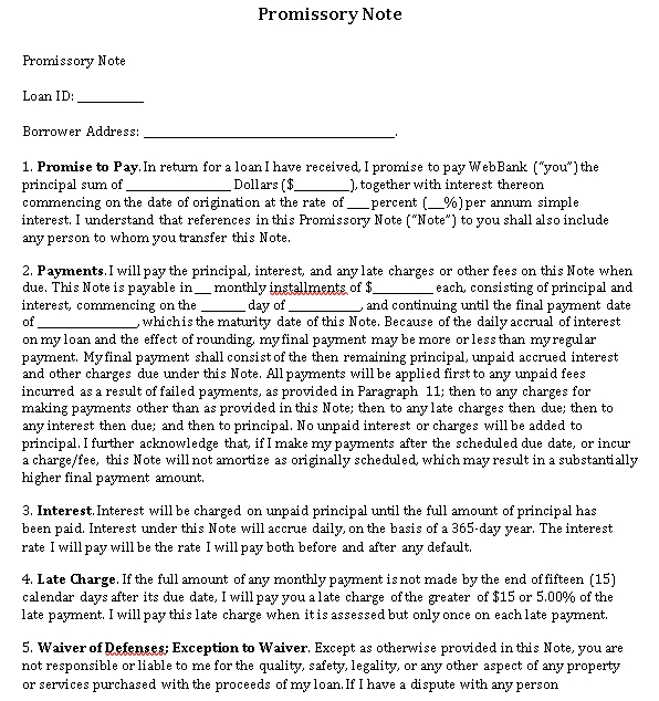 Sample Template Small Business Promissory Note Format