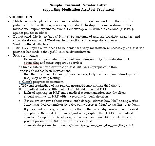 Sample Template Treatment Provider Letter