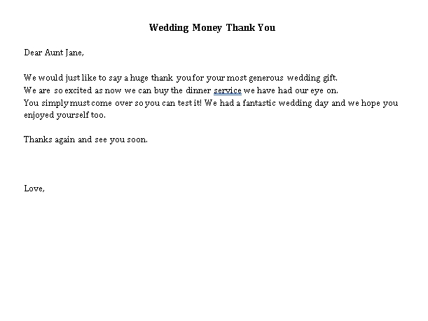 Sample Template Wedding Money Thank You Note