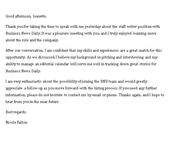 Sample Template business thank you note after interview