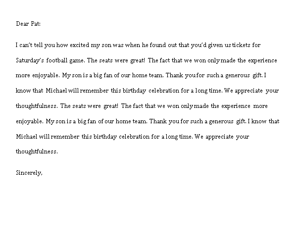 Sample Template business thank you note for gift