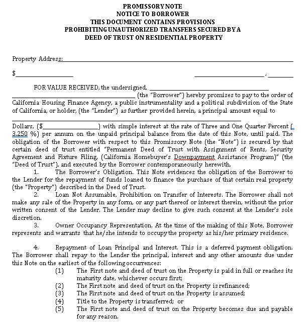 Sample Template california secured promissory note form