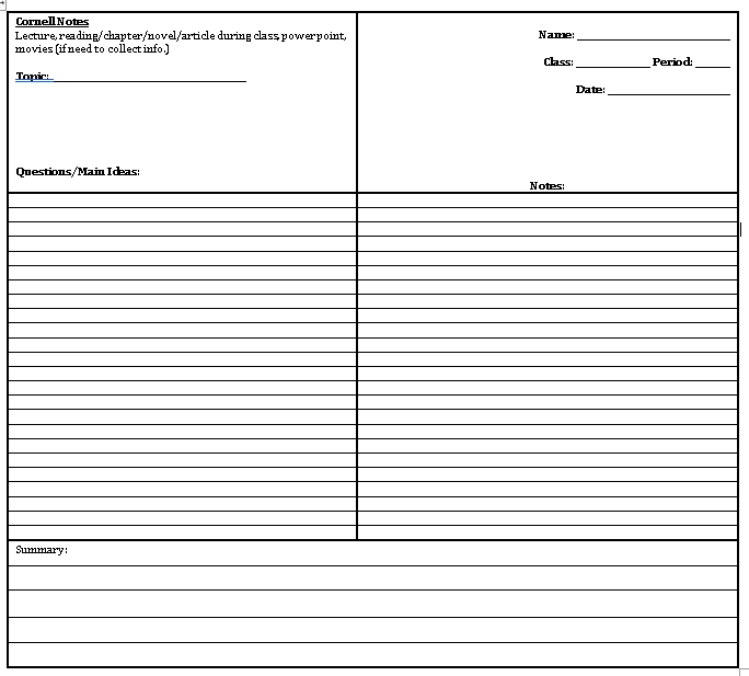 Sample Template cornell notes middle school