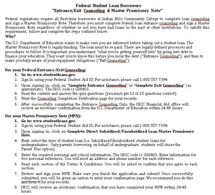 Sample Template federal student loan promissory note