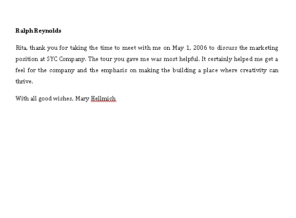 Sample Template handwritten thank you note after interview