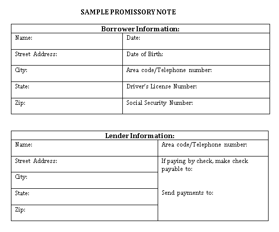 Sample Template simple promissory note form