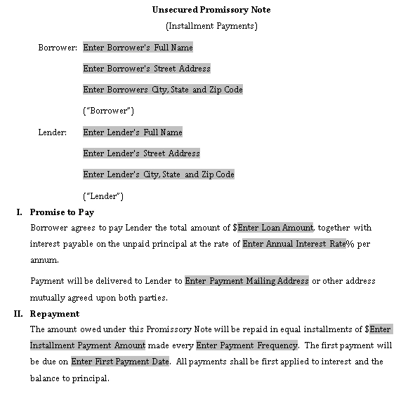 Sample Template suze orman secured promissory note
