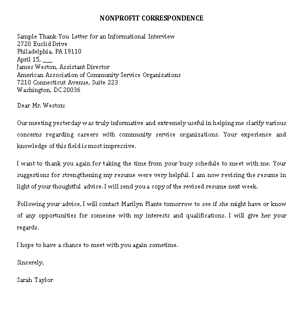 Sample Template thank you note after informational interview