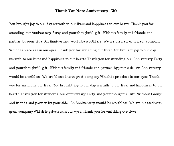 Sample Template thank you note anniversary gift