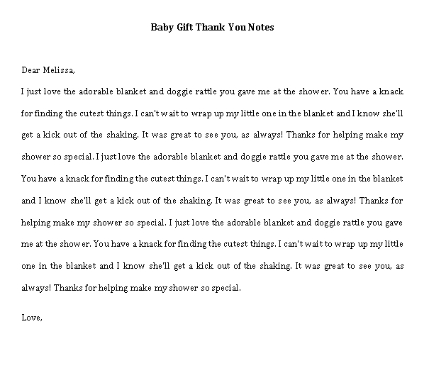 Sample Template thank you note for baby gift