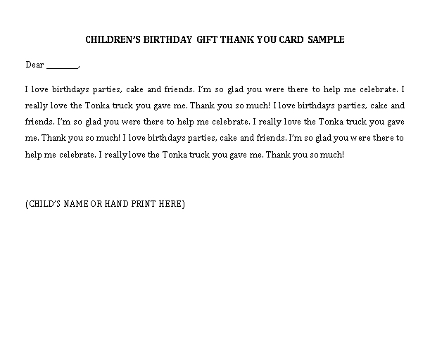 Sample Template thank you note for birthday gift