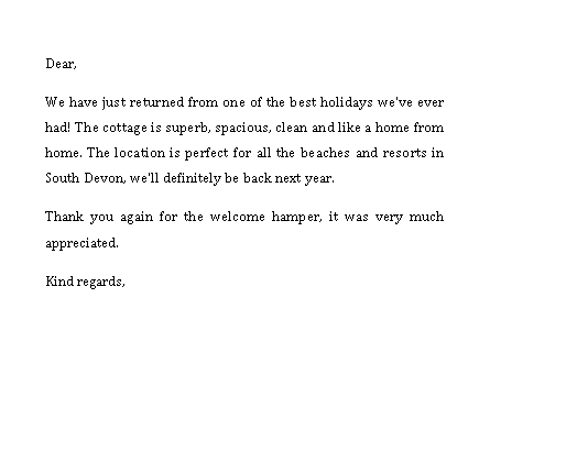 Sample Template thank you note for dinner after baby