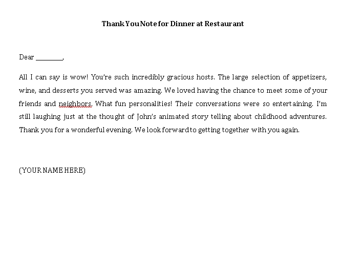 Sample Template thank you note for dinner at restaurant