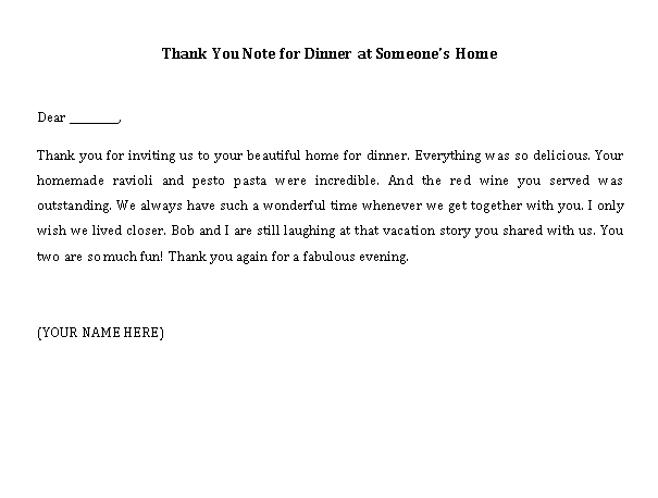 Sample Template thank you note for dinner at someones home